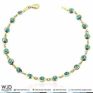 14k-Yellow-Gold-Good-Luck-Evil-Eye-Cable-Charm-Bracelet-7-034