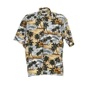 Pierre-Cardin-Herren-Vintage-Hawaiihemd-XL-Shirt-Muster-Retro-Kurzarm-Baumwolle