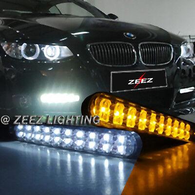 JDM 30 LED Daytime Running Light DRL Kit Fog Day lights + Amber Turn Signal C09