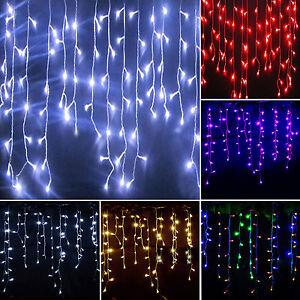 weihnachten licht led lichtervorhang innen au en garten party deko lichterkette ebay. Black Bedroom Furniture Sets. Home Design Ideas