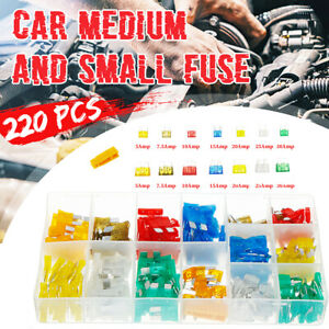 220Pcs-Assortiment-Mini-et-Standard-Auto-lame-fusibles-voiture-auto-van-Fuse-SET-5-30-A