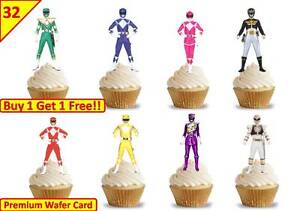 64 x Power Rangers Cup Cake Wafer Rice Toppers Birthday Party Edible *STAND UP*