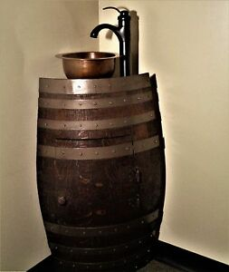 Mini Oak Wine Whiskey Barrel Corner Bathroom Copper Vessel Sink Vanity
