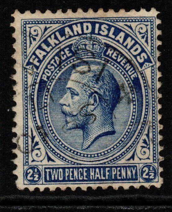 FALKLAND ISLANDS SG63c 1919 2½d DEEP BLUE FINE USED