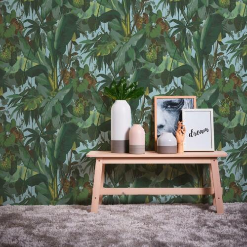 Tropical Palm Leaf A.S Creation Blown Vinyl Blue Green Brown Wallpaper