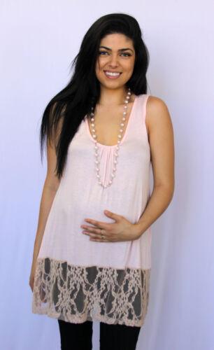 Pink Womens Maternity Pregnancy Top Lace Blouse S M L XL