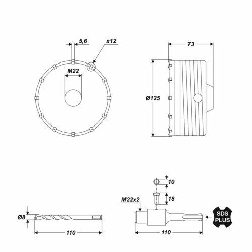 HM Bohrkrone mit SDS Adapter Ø 125 mm Lochsäge Dosenbohrer für Beton Mauerwerk