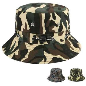 Camouflage-Camo-Bucket-Hat-Cotton-Summer-Outdoor-Camping-Fisherman-Cap-HeadressZ