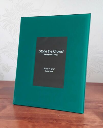 """Table Contemporary Modern Chic 4x6/"""" Glass New Photo Frame Blue Green Teal Wall"""