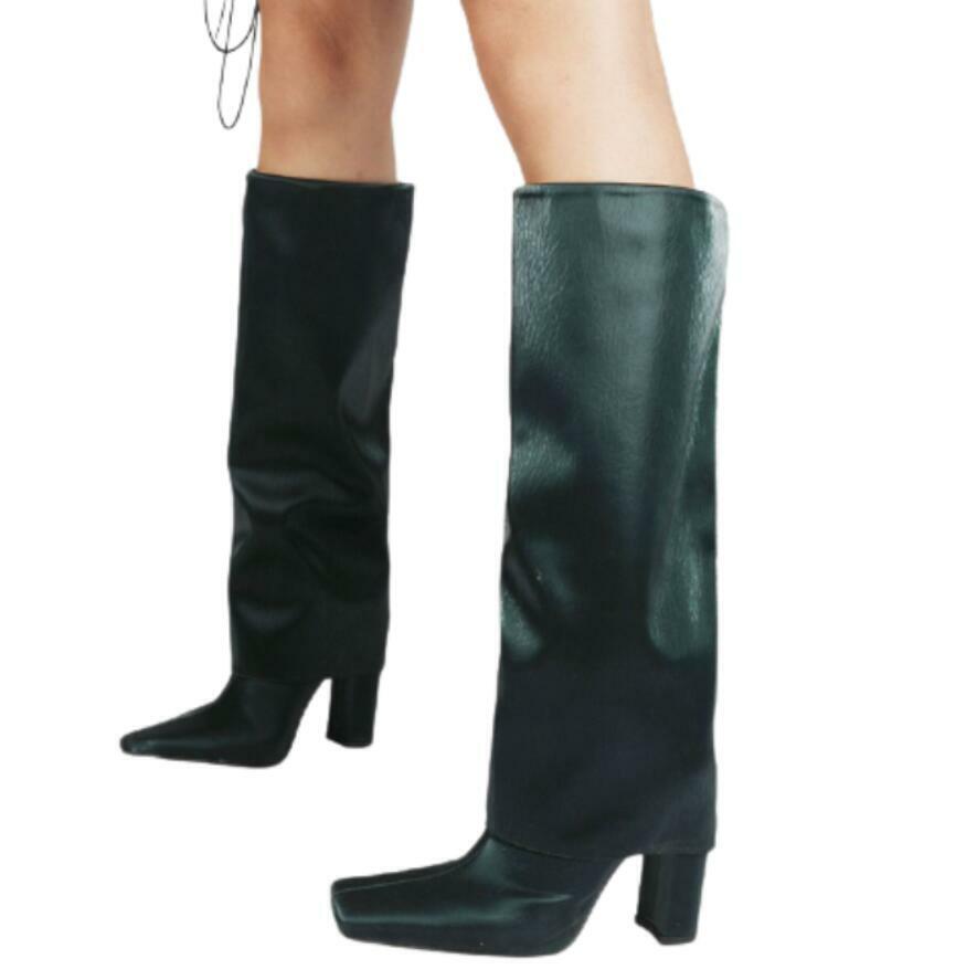 3 Colores Mujer Dedo Del Pie Cuadrado occidental Bloque Talón Mitad de Pantorrilla la rodilla Botas altas Fiesta 47 L