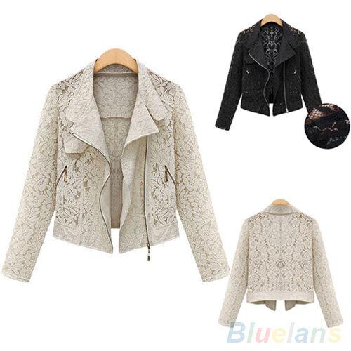 Women Unique Design Long Sleeve Tops Lapel Blazer Suit Slim Coat Lace Jacket New