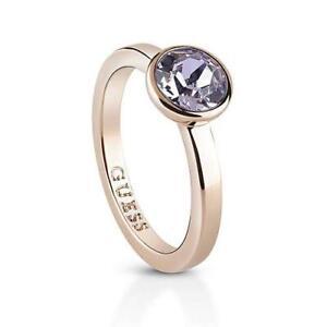 GUESS-Anello-donna-Miami-UBR83028-50-acciaio-oro-rosa-cristalli-viola-misura-10
