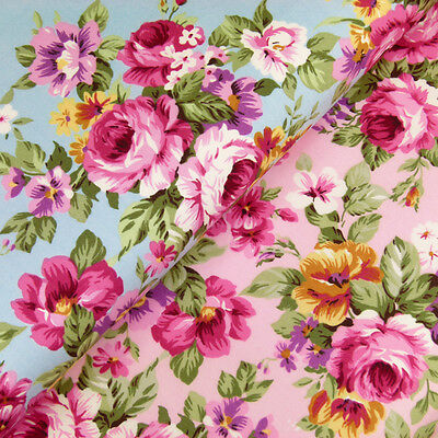 100% Cotton Fabric by FQ Rose Flower Bouquet Shabby Vintage Retro Chic Dress VK9