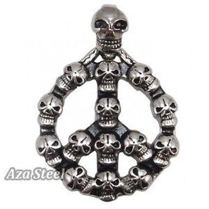 Men-039-s-Silver-Skull-Peace-Sign-Biker-Stainless-Steel-Pendant-Chain-Necklace