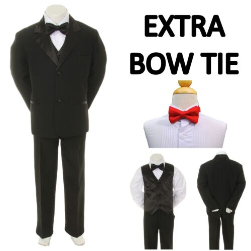 Red Bow Tie 16-20 New Teen Boy Black FORMAL Wedding Prom Party Tuxedo Suit