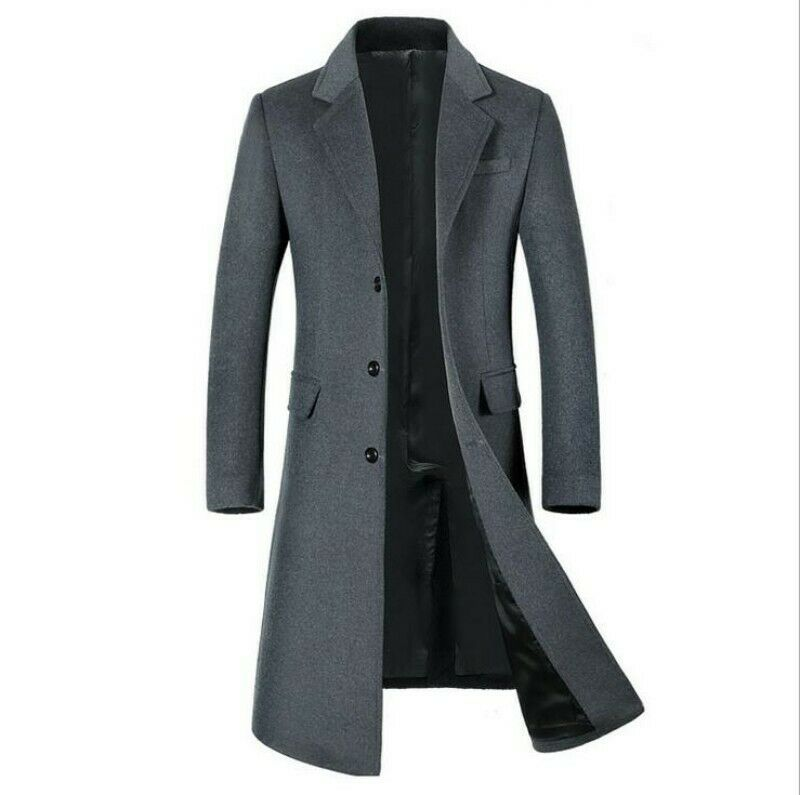 Wool Trench Coat Overcoat Long Warm Parka New Vintage Men Winter Lapel cashmere
