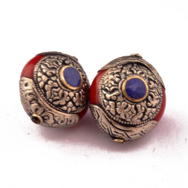 Red Resin Lapis 2 Beads Tibetan Nepalese Ethnic Handmade Nepal UB2631