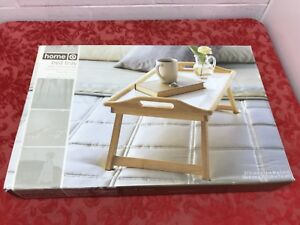 Image Is Loading Home Bamboo White Folding Breakfast In Bed Tray