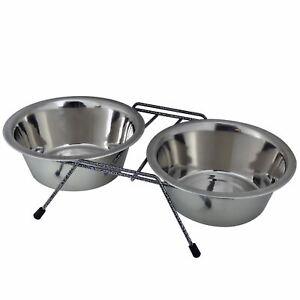 Industrieux Élevée En Acier Inoxydable Double Pet Dog Bowl Station D'alimentation Soulevées Hauteur Stand-afficher Le Titre D'origine