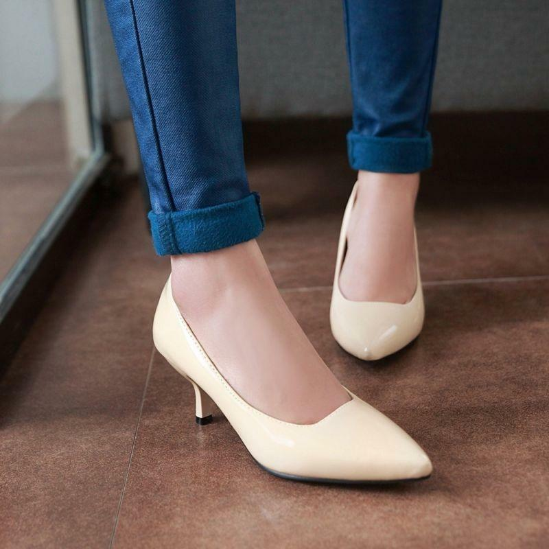colorful Women Kitten heel Dress shoes Hot Pointed toe Pumps Casual shoes US4-12