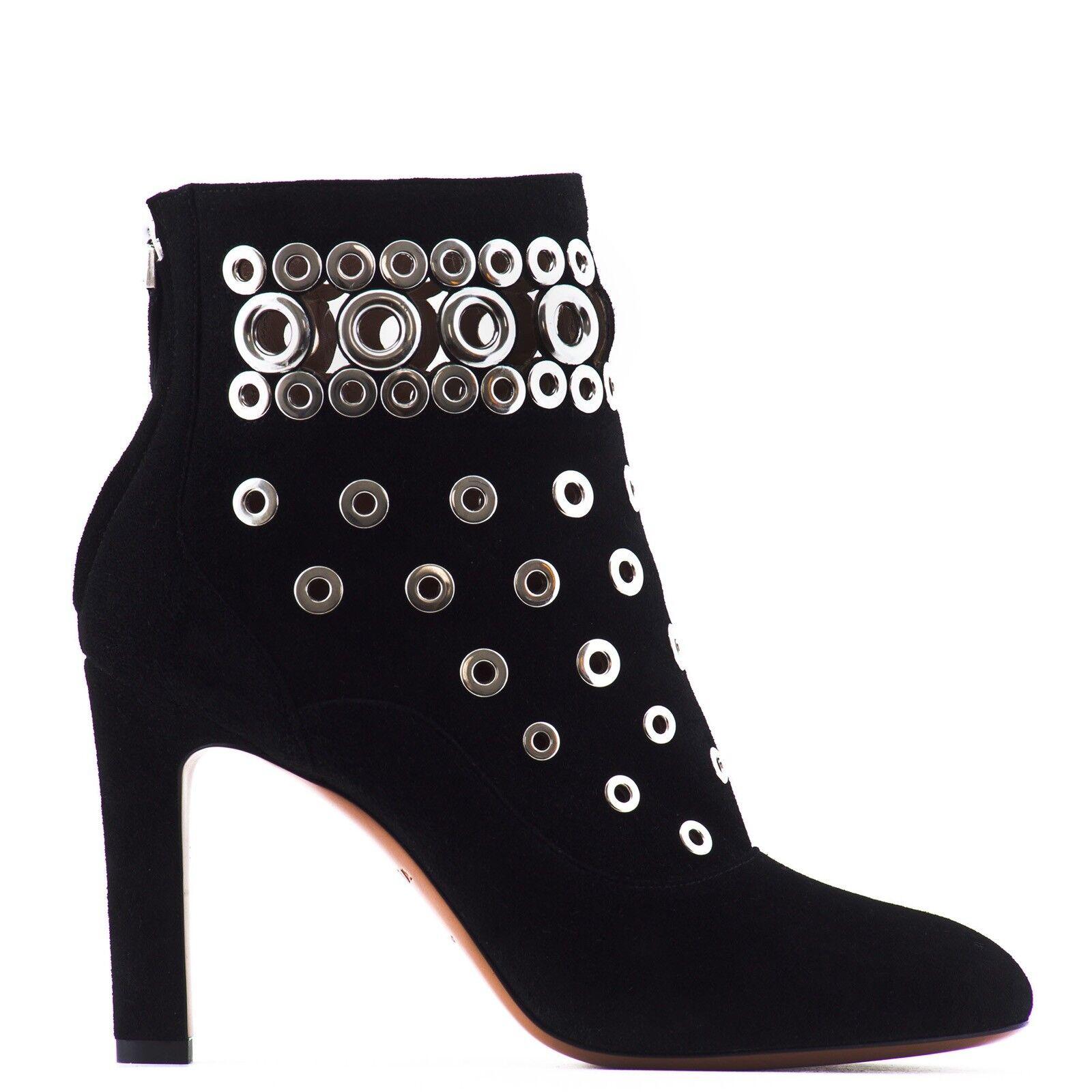 ,300 Cuero Alaïa Ojal adornado botas al Tobillo   US 9.5   Negro