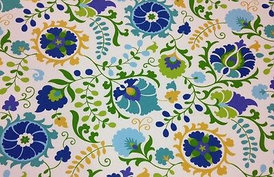 """RICHLOOM SAHALIE OPAL BLUE FLORAL SUZANI OUTDOOR FABRIC BY THE YARD 54"""" WIDE"""
