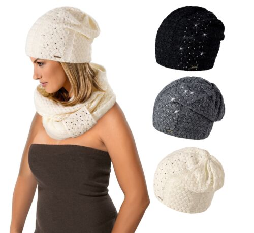 Damen Mütze Wintermütze Strickmütze mit Wolle Hat Beanie  AR-BB Loman