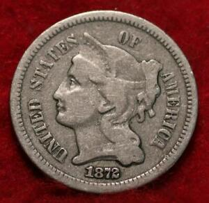 1872 Philadelphia Mint Nickel Three Cent Coin