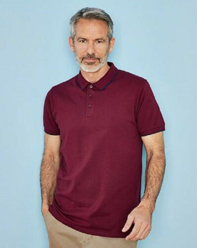 Berry purple tipped collar polo shirt from jacamo sizes m to 4xl longer length