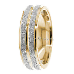 2e44c5cda9b0e1 TWO TONE 14K GOLD MENS WOMENS WEDDING BANDS RINGS SANDSTONE WEDDING ...