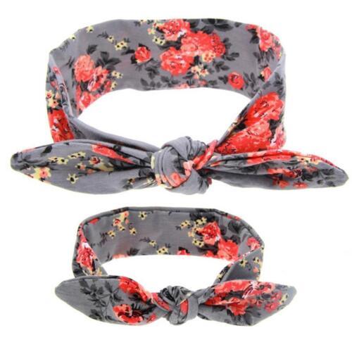 Baby Girls Hair Band Boho Rabbit Flower Headband Kids Headwear Grey Mother