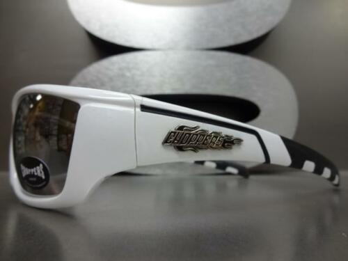 WRAP AROUND SPORT Motorcycle Riding CHOPPERS SUN GLASSES White Frame Chrome Lens