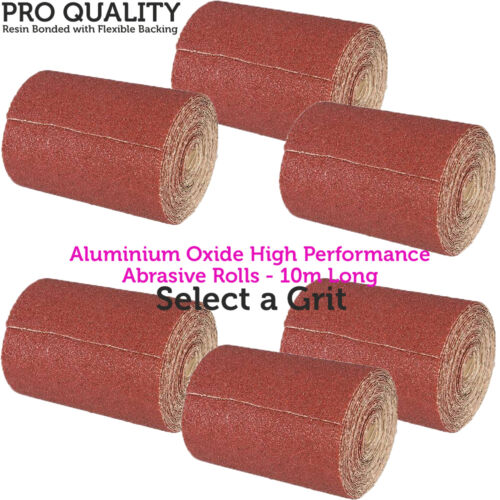 Sanding//Grinding Select a Grit 10m Long Life Aluminium Oxide Sand Paper Rolls