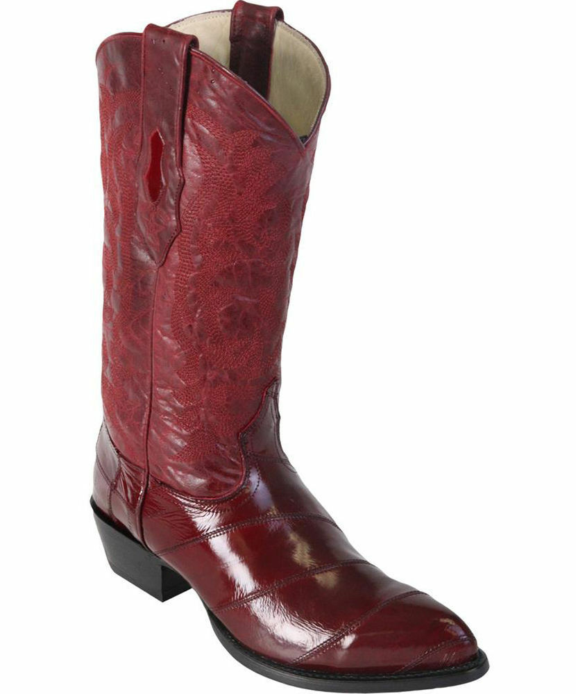 LOS ALTOS MEN BURGUNDY GENUINE EEL WESTERN COWBOY BOOT J-TOE (EE) 990806