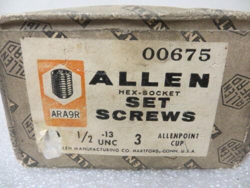 "1//2""-13 x 3"" Hex Socket Head Set Screws Cup Point Alloy Steel U.S.A. 22 Pcs."