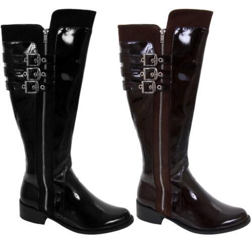Women/'s Low Heel Patent Triple Buckle Strap Knee Length Ladies Boots Shoes