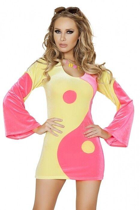 Hippie Hippie Hippie Kostüm Kleid Ying Yang Samt Gr.36-38 Hippy 70 ziger 80 ziger Karneval  | Starke Hitze- und Abnutzungsbeständigkeit  ae4609