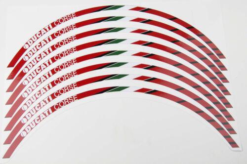 Ducati Corse Motorrad Felgen Rand aufkleber set rim 8 stickers 1098 Multistrada