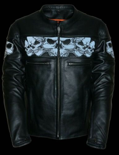 MEN/'S MOTORCYCLE REFLECTIVE BLK SKULL LEATHER SCOOTER JACKET W//2 GUN POCKETS NEW