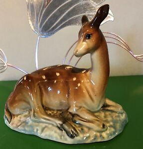 BESWICK-DEER-ON-BASE-MODEL-No-721-BROWN-amp-WHITE-BLUE-GLOSS-ART-DECO-PERFECT