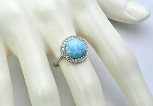 Larimar AAA10mm Cabochon White Sapphire Accents 925 Sterling Silver Size 6