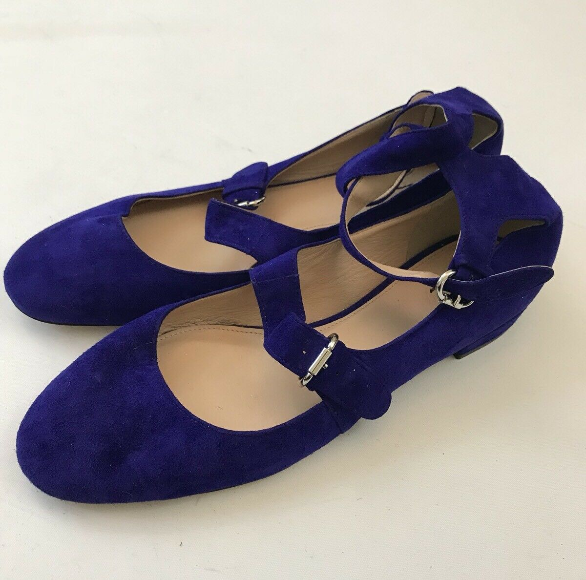 NEW J.Crew  Suede Purple bluee Ankle Strap Flats shoes sz 7