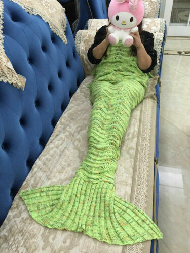 2020 NEW Handmade Blanket Crocheted Cocoon Sofa Beach Quilt Rug Knit MermaidTail