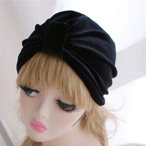 Lady Glitter Velvet Turban Hat Cap Head Wrap Hijab Hip Hop Beanie ... b41dc412fa25