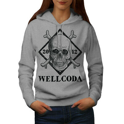 GroßZüGig Wellcoda Wellcoda Skull Womens Hoodie, Cross Casual Hooded Sweatshirt