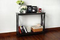 Espresso Finish 2-tier X-design Occasional Console Sofa Table Bookshelf, New, Fr on sale