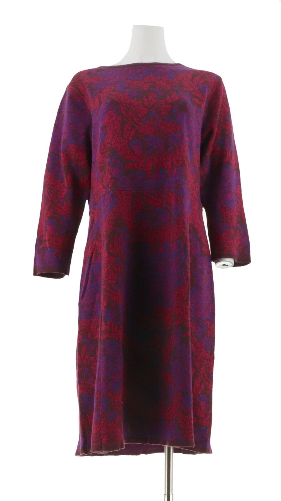Isaac Mizrahi Floral Lurex Jacquard Sweater Dress Deep Burgundy L NEW A270549