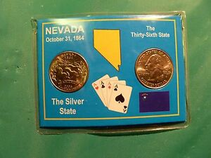 2006-P-AND-D-UNCIRCULATED-NEVADA-QUARTER-SET-IN-COLORFUL-HOLDER-FREE-U-S-SHIPN