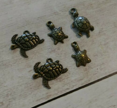 5 Sea Turtle Charms Antique Bronze Tone Tortoise Pendants Nautical Sea Life