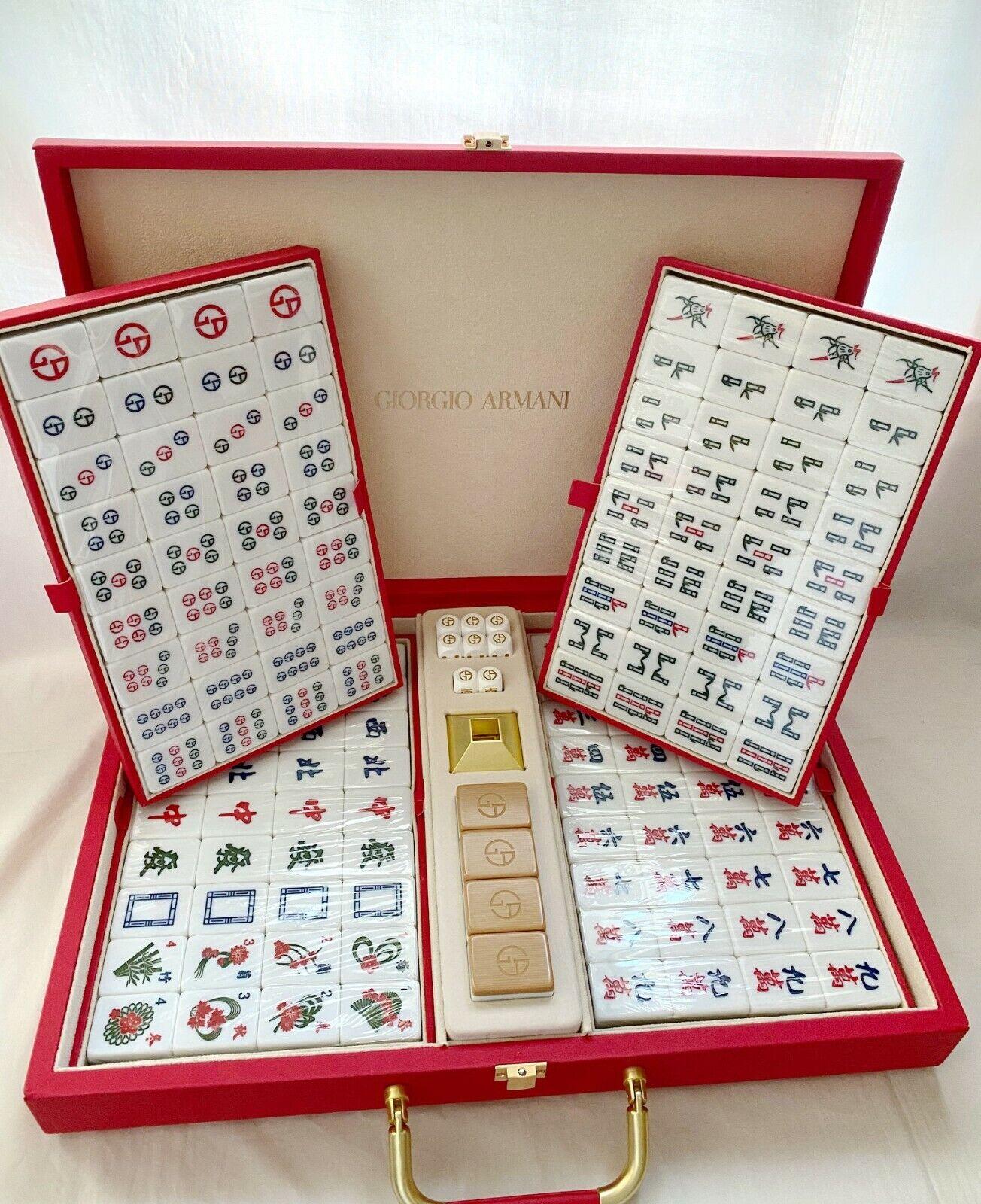 Giorgio Armani limited mahjong for prive parfum jacket wool coat di fur python